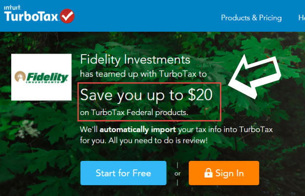 onsite fidelity turbotax discount 20