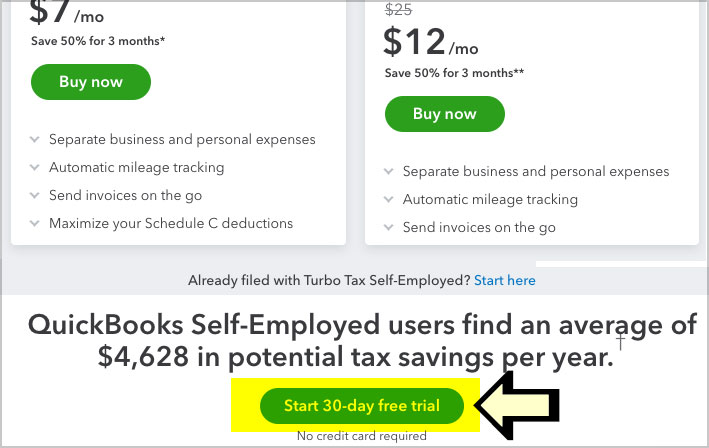 quickbooks self employed free