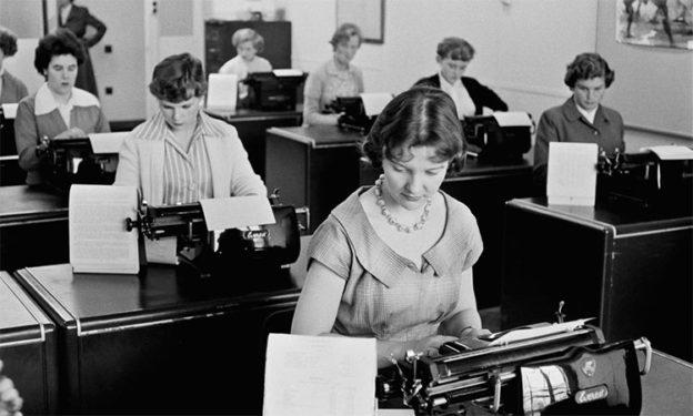 retro woman typewriter