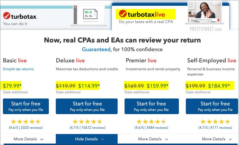 turbotax live cost