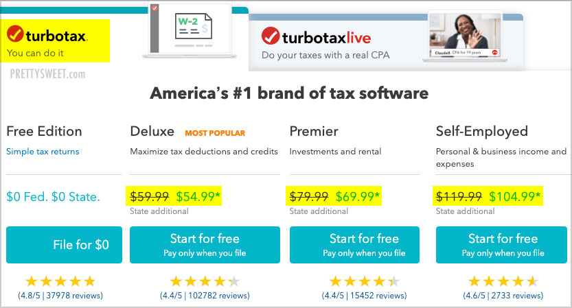 turbotax online prices