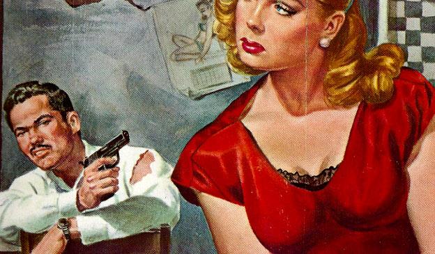 woman man vintage gun