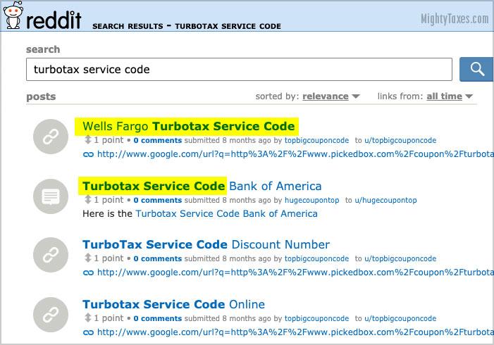reddit turbotax service code