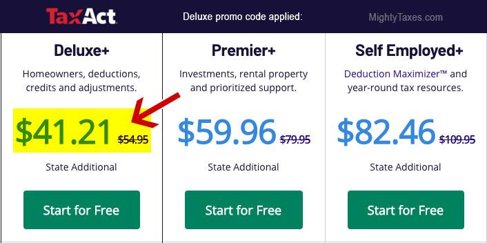 taxact self deluxe+ discount code