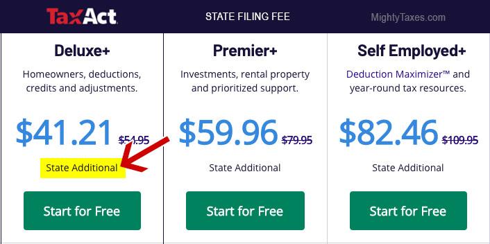 taxact state file fee